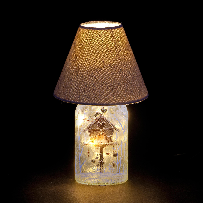 Christmas Trees and Lights 'Christmas Robins' Illuminated Table Lamp