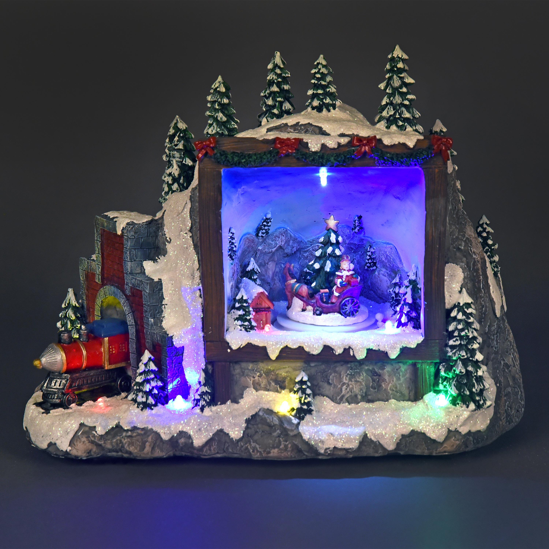 Musical Festive Scene with Rotating Santas Sleigh