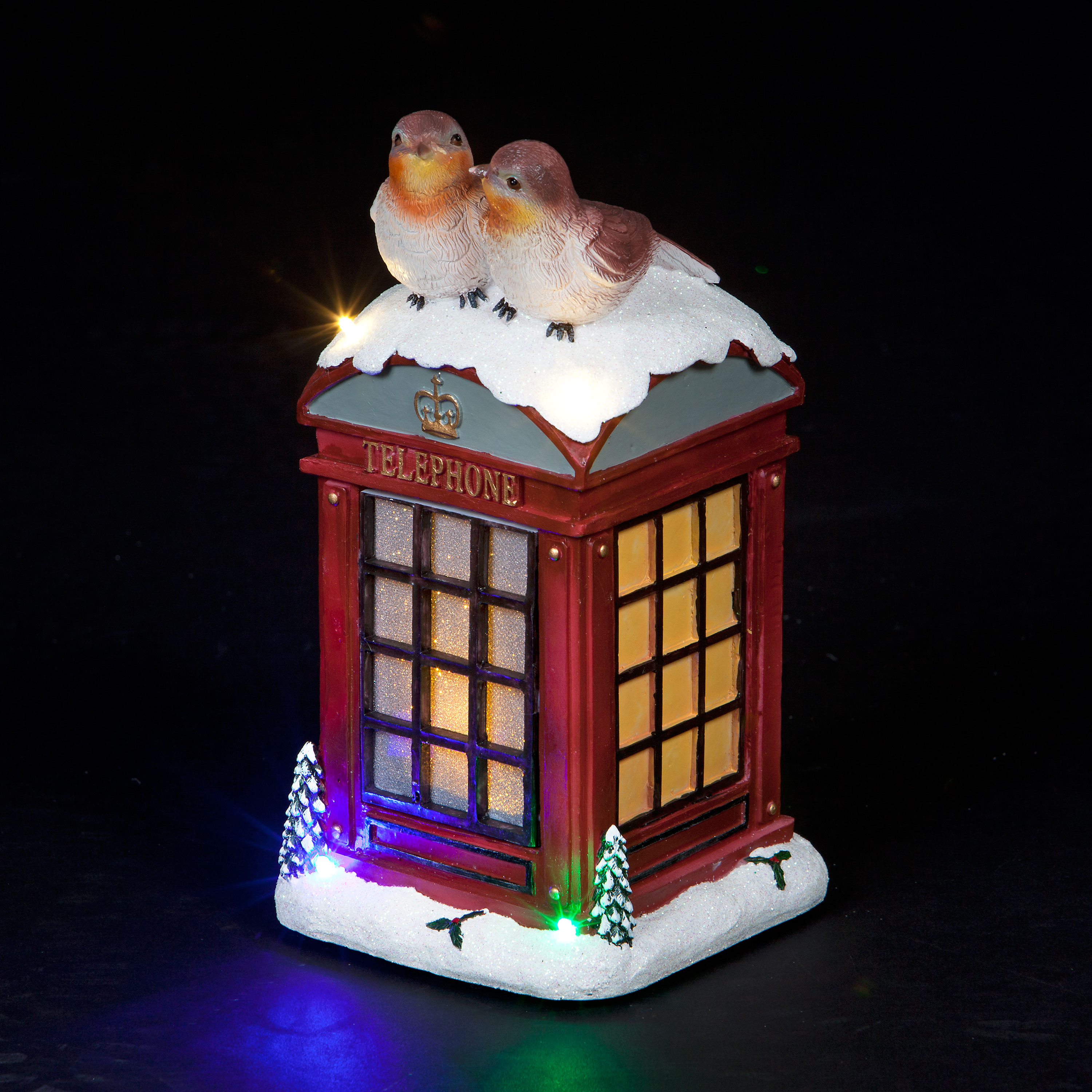 Musical Red Robins on Phonebox Ornament