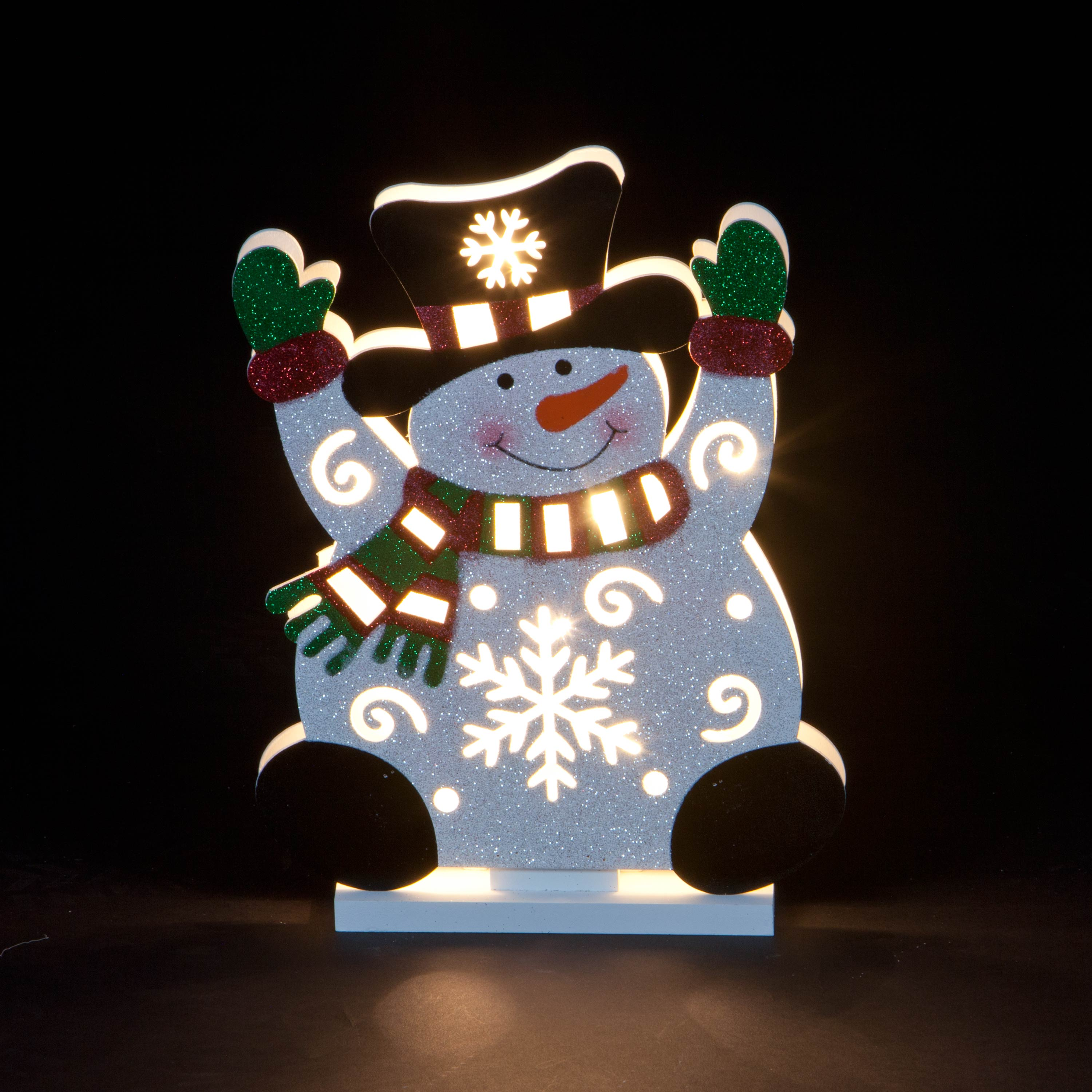 Christmas Trees and Lights Hand-Carved Snowman Wave Sign
