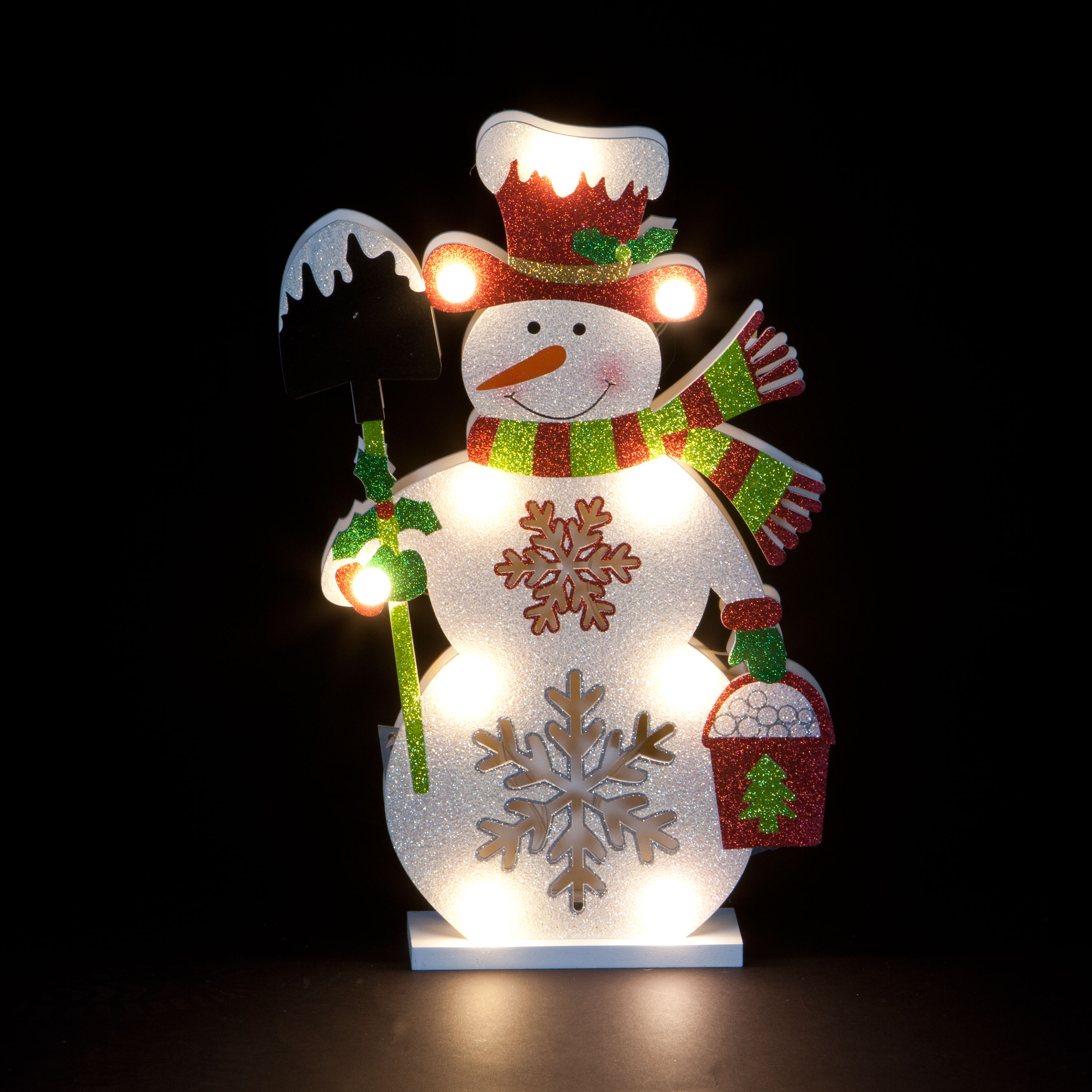 Christmas Trees and Lights Illumianted Hand-Carved 'Jolly Snowman'