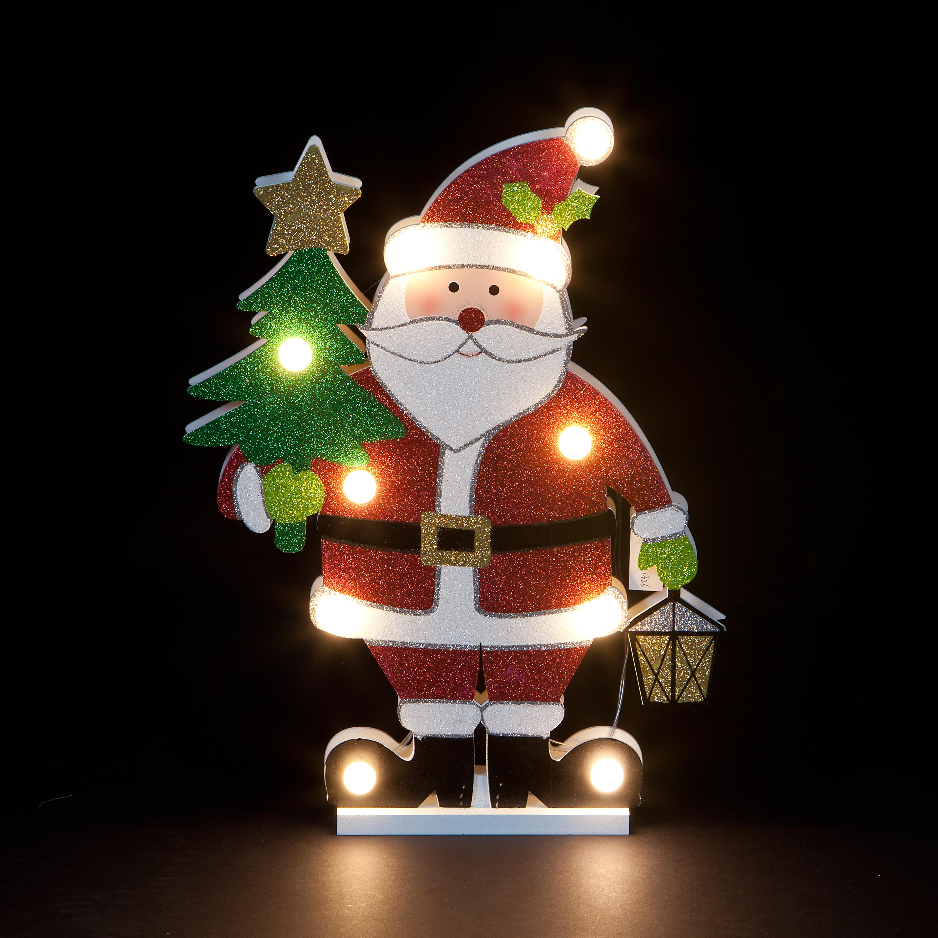 Christmas Trees and Lights Hand-Carved Illuiminated Father Christmas with Tree Figurine
