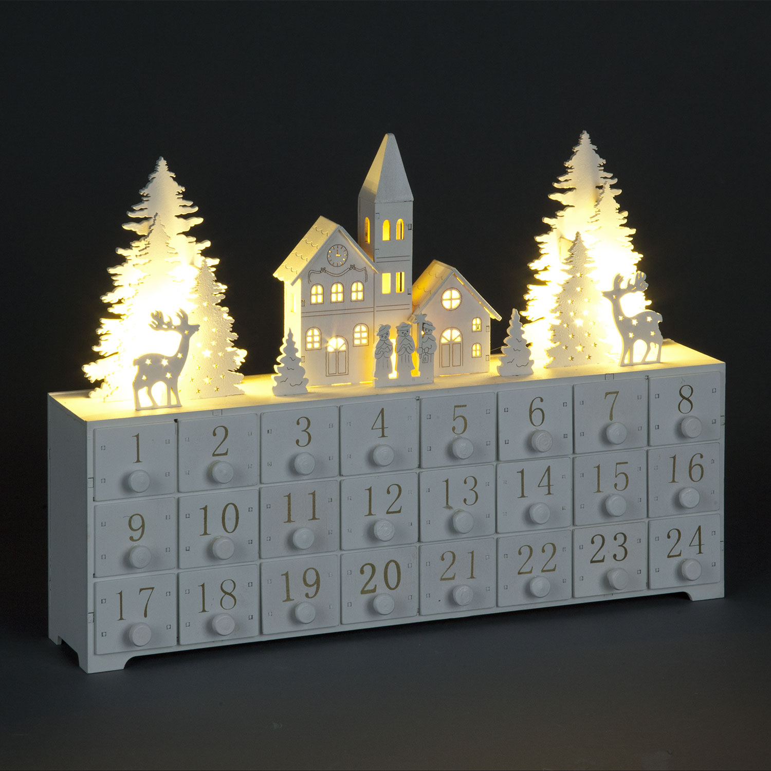 White LED Advent Calendar with Church & Trees