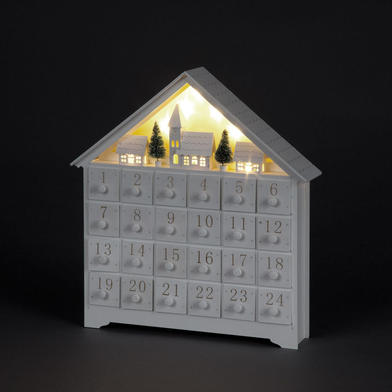 White LED Advent Calendar House