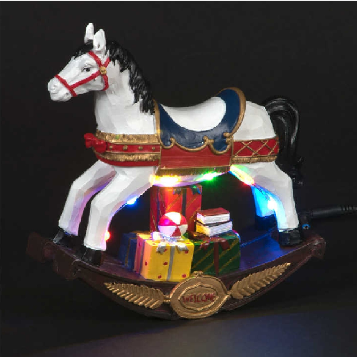 Battery Operated 21cm Rocking Horse With Multi Coloured LEDs