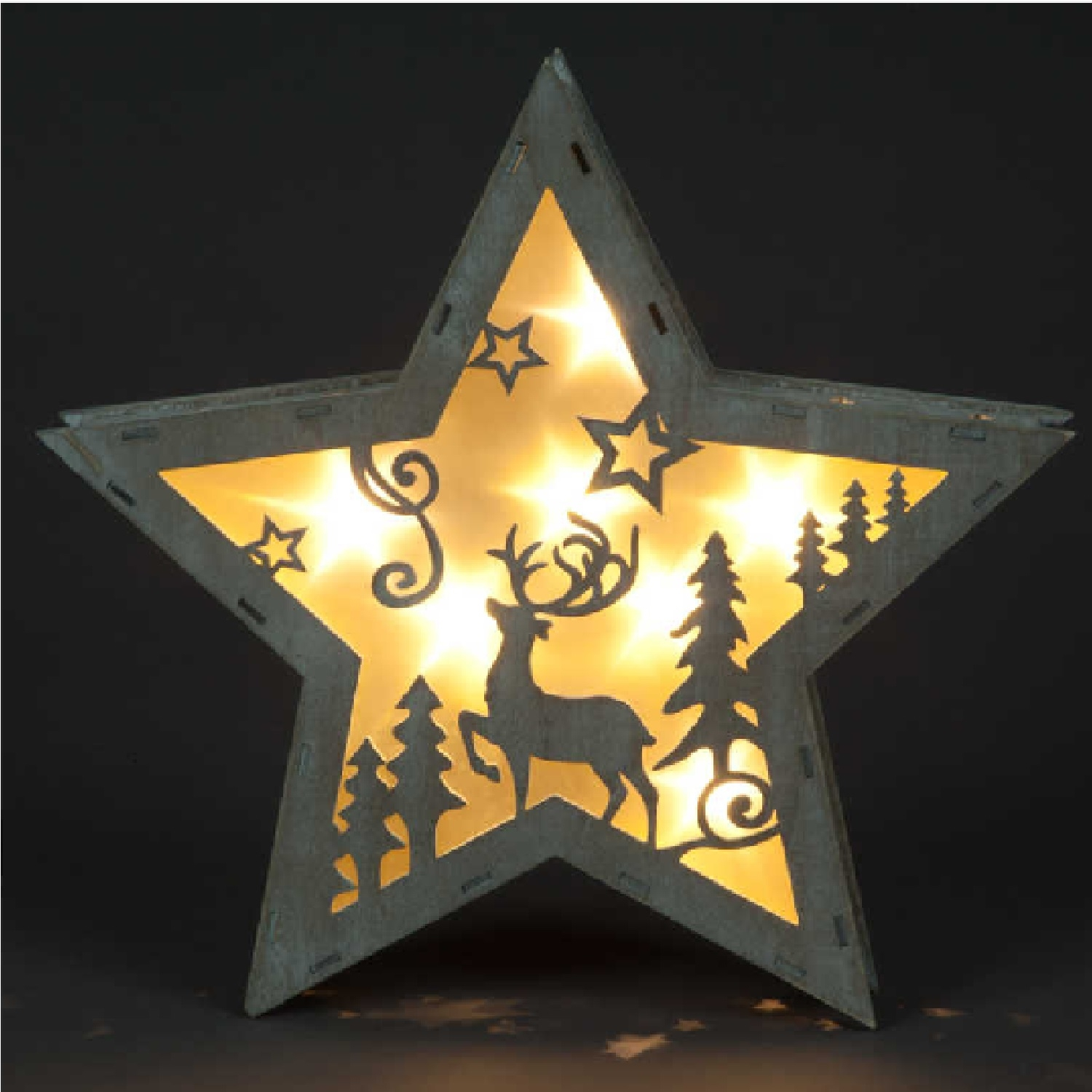 Battery Operated Wooden Star Frame