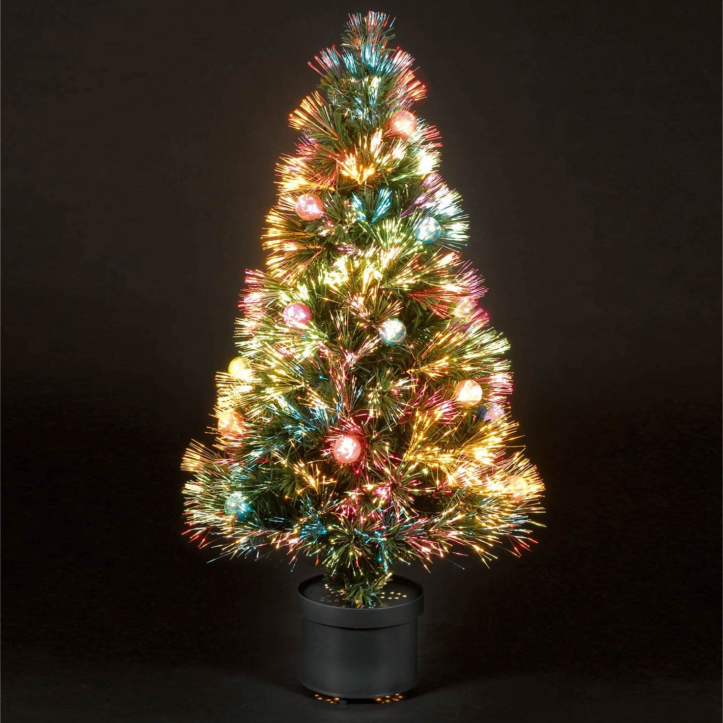 2.75ft80cm Coloured Bauble Fibre Optic Christmas Tree