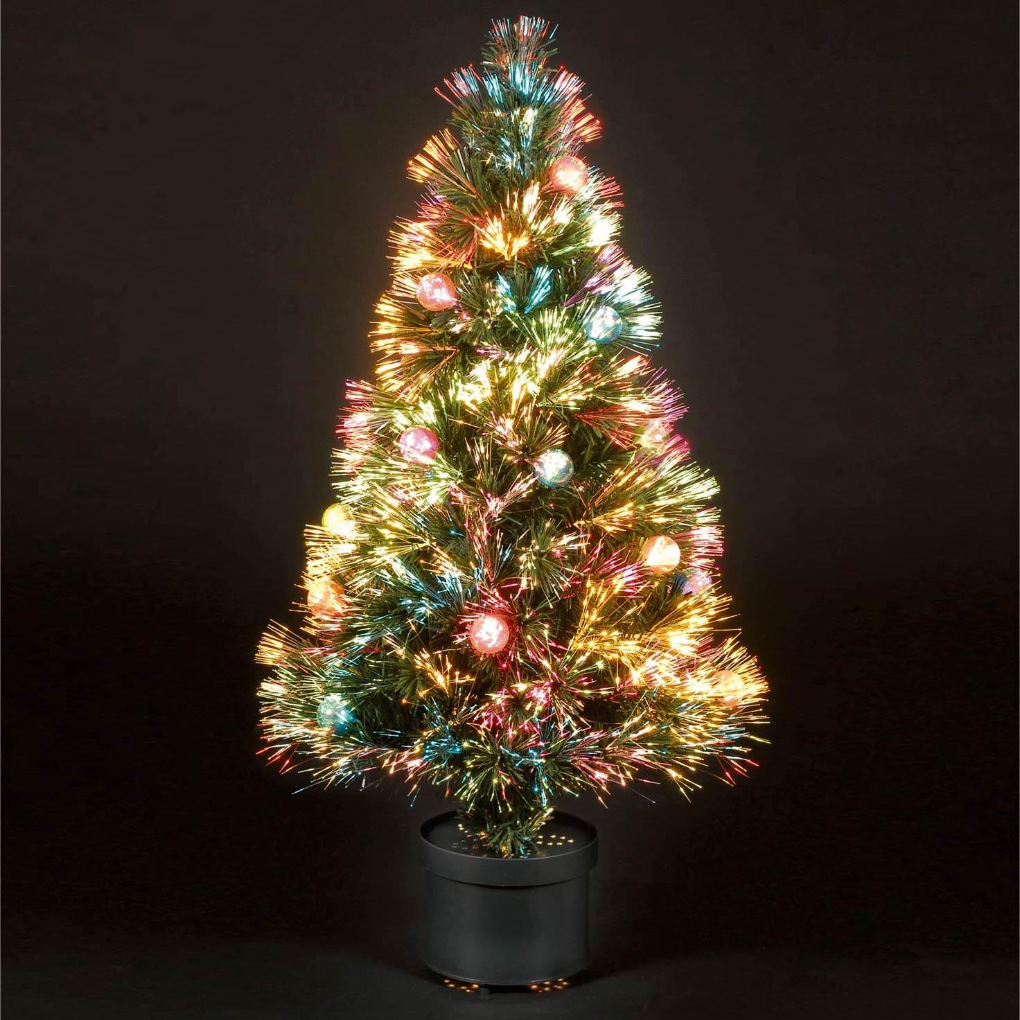 Christmas Tree With Lights Tesco: 2.75ft/80cm Coloured Bauble Fibre Optic Christmas Tree