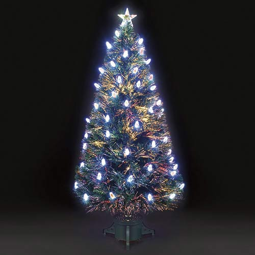 4ft120cm Colour Changing Aurora Pine Cone Fibre Optic Christmas Tree