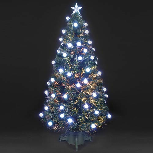5ft150cm Colour Changing Spangled Bauble Fibre Optic Christmas Tree