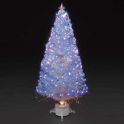 6ft180cm Polar Ice White Fibre Optic & Blue LED Christmas Tree
