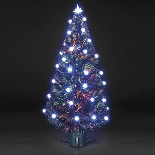 3ft90cm Snowball Black Fibre Optic Christmas Tree