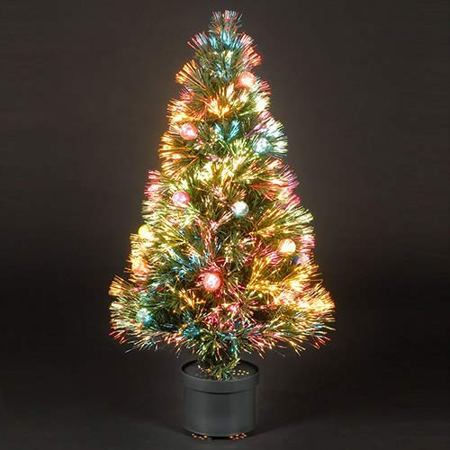 5ft150cm Coloured Bauble Fibre Optic Christmas Tree