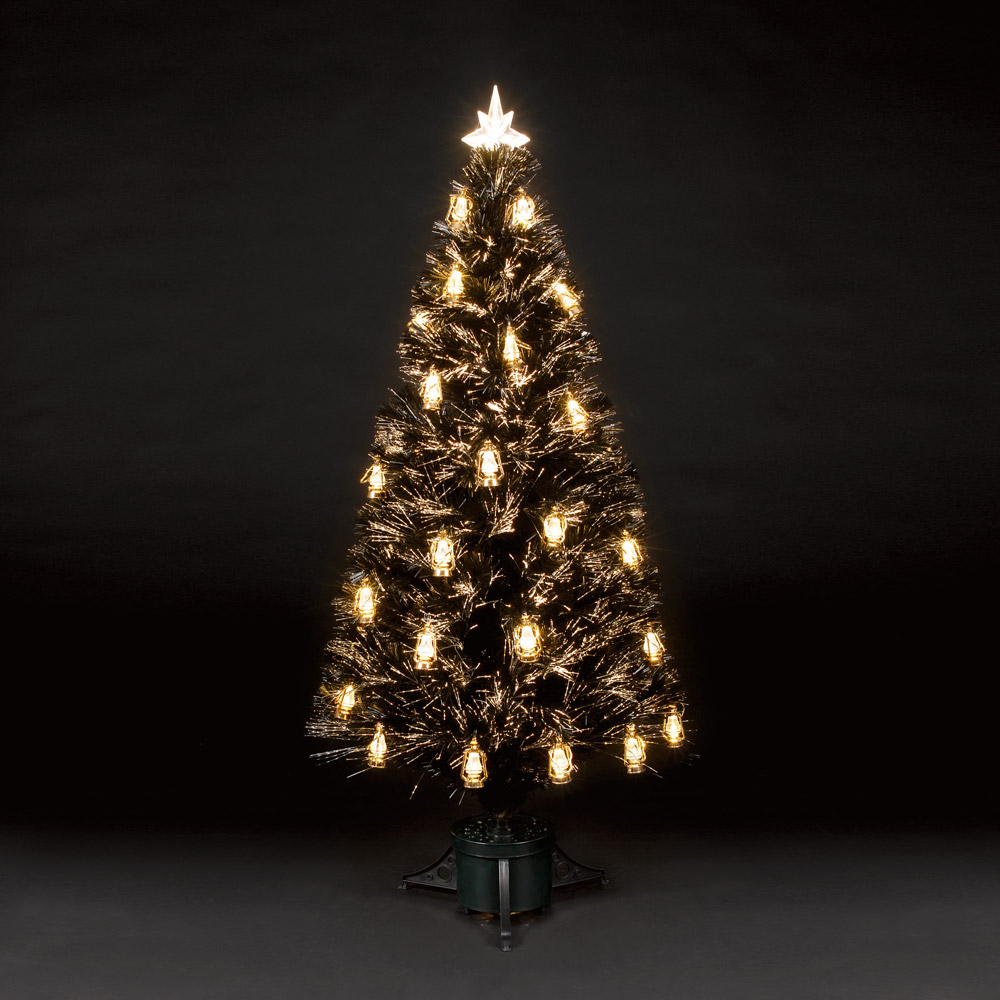 4ft120cm Gold Lantern Black Fibre Optic Christmas Tree