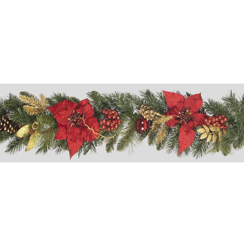 6ft Red Poinsettia Garland with Gilded Leaves, Baubles & Cones