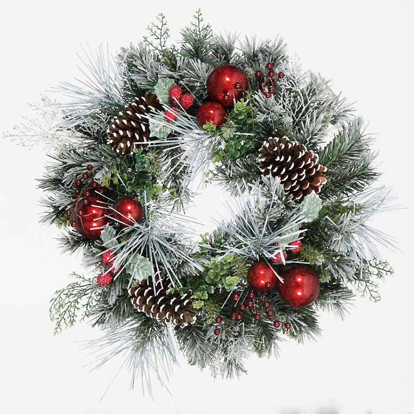 Christmas Trees and Lights 1.5ft Flocked Wreath with Red Baubles and Berries