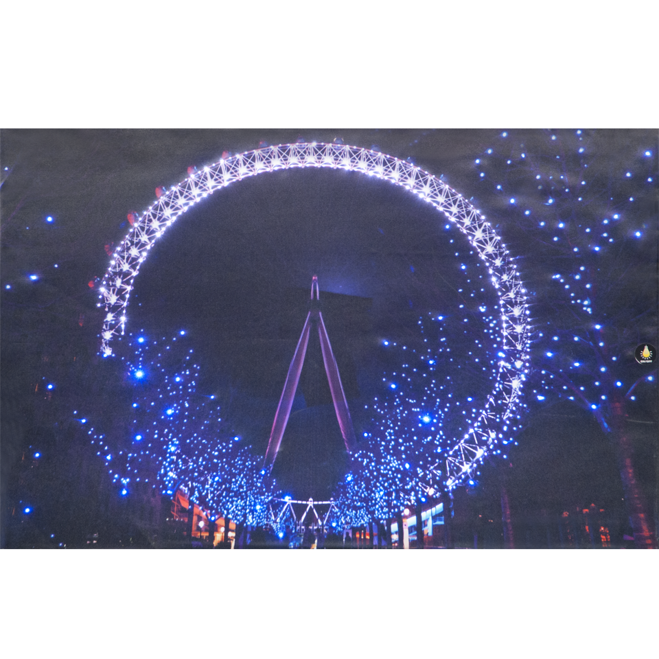 London Eye by Night Illuminated Wall Canvas