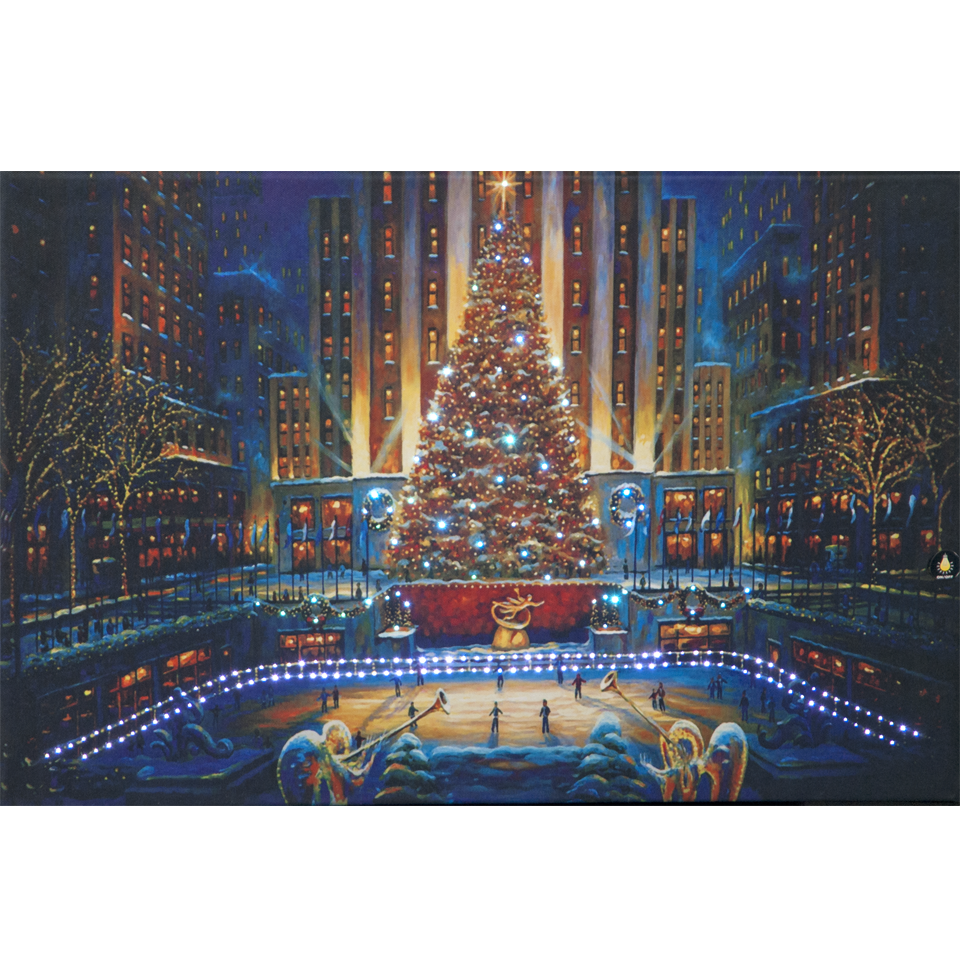 Christmas Tree in the City by Night Illuminated Wall Canvas