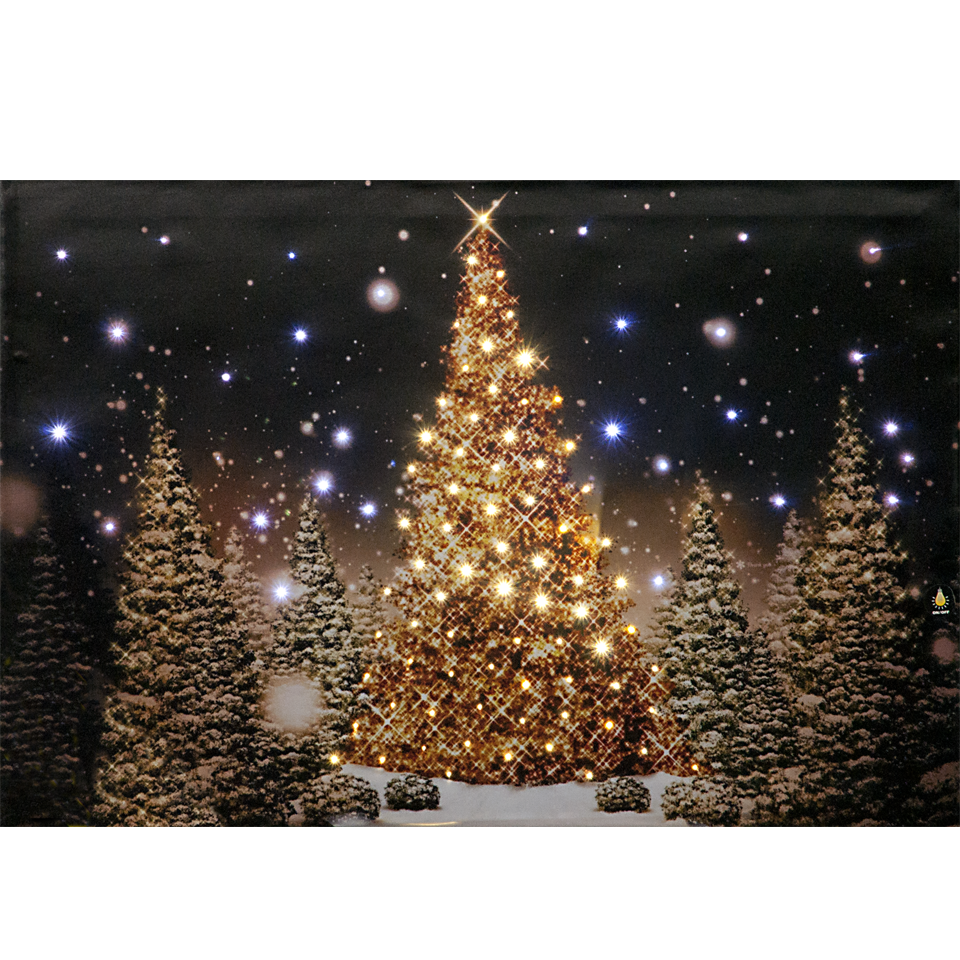 Starlit Forest Christmas Tree Illuminated Wall Canvas