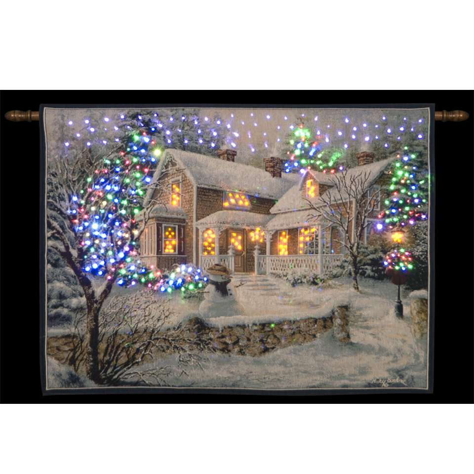 Nicky Boehme Winters Welcome Illuminated Hanging Tapestry