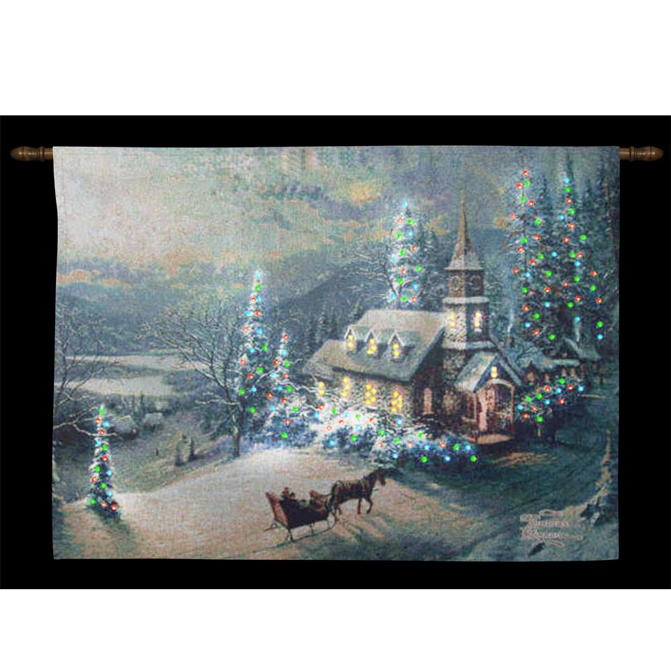 Thomas Kinkade Midnight Mass Illuminated Hanging Tapestry