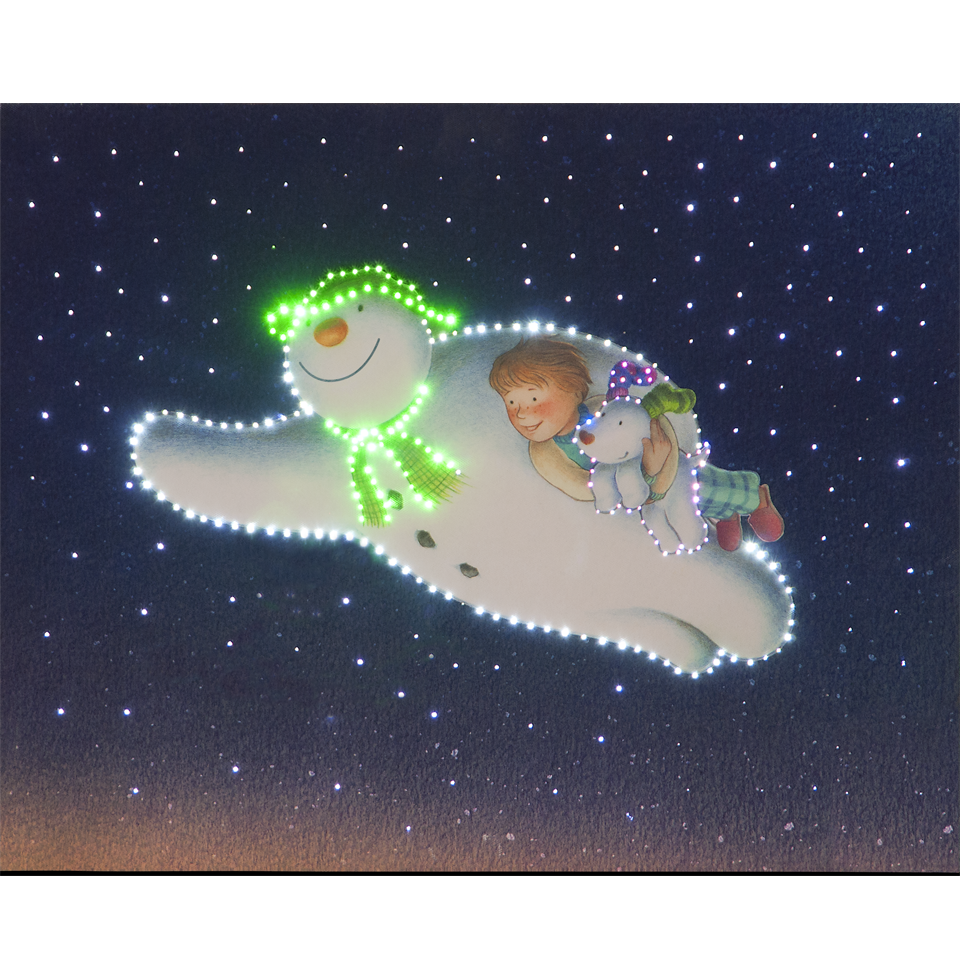 50x40cm The Snowman Billy & Snowdog Flying Large Illuminated Wall Canvas