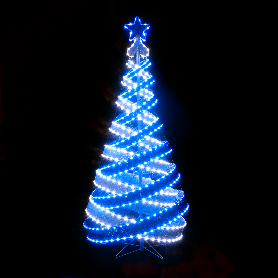 Christmas Trees And Lights 180cm 6ft Outdoor Indoor Blue White