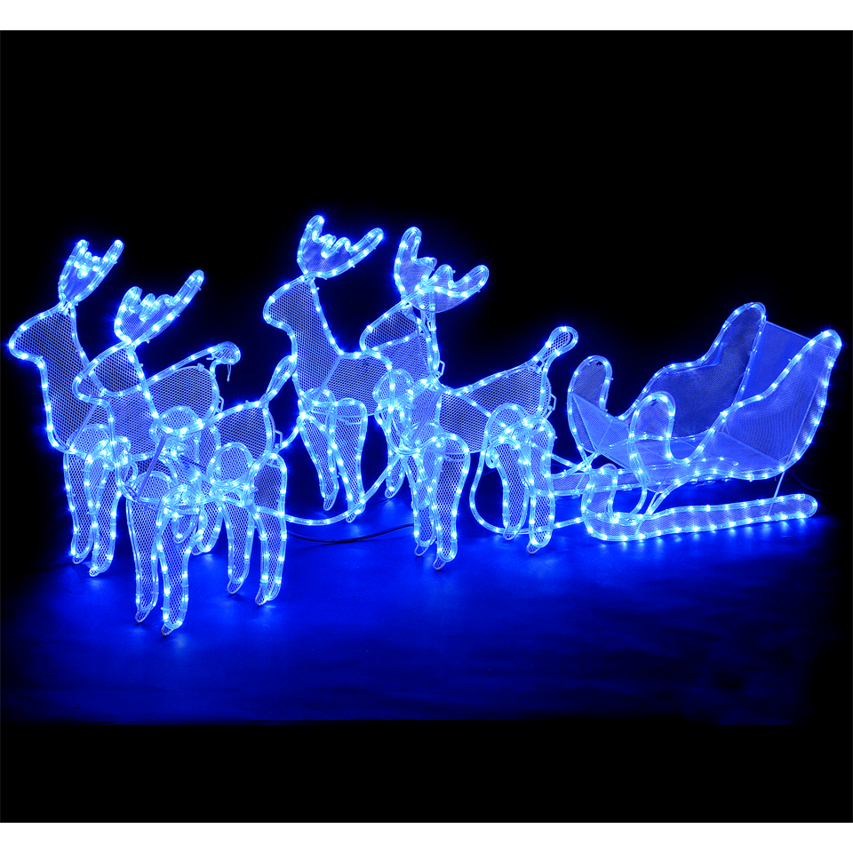 SALE on Outdoor u0026 Indoor Reindeer And Sleigh With 648 Electric Blue Leds - Christmas Trees And ...