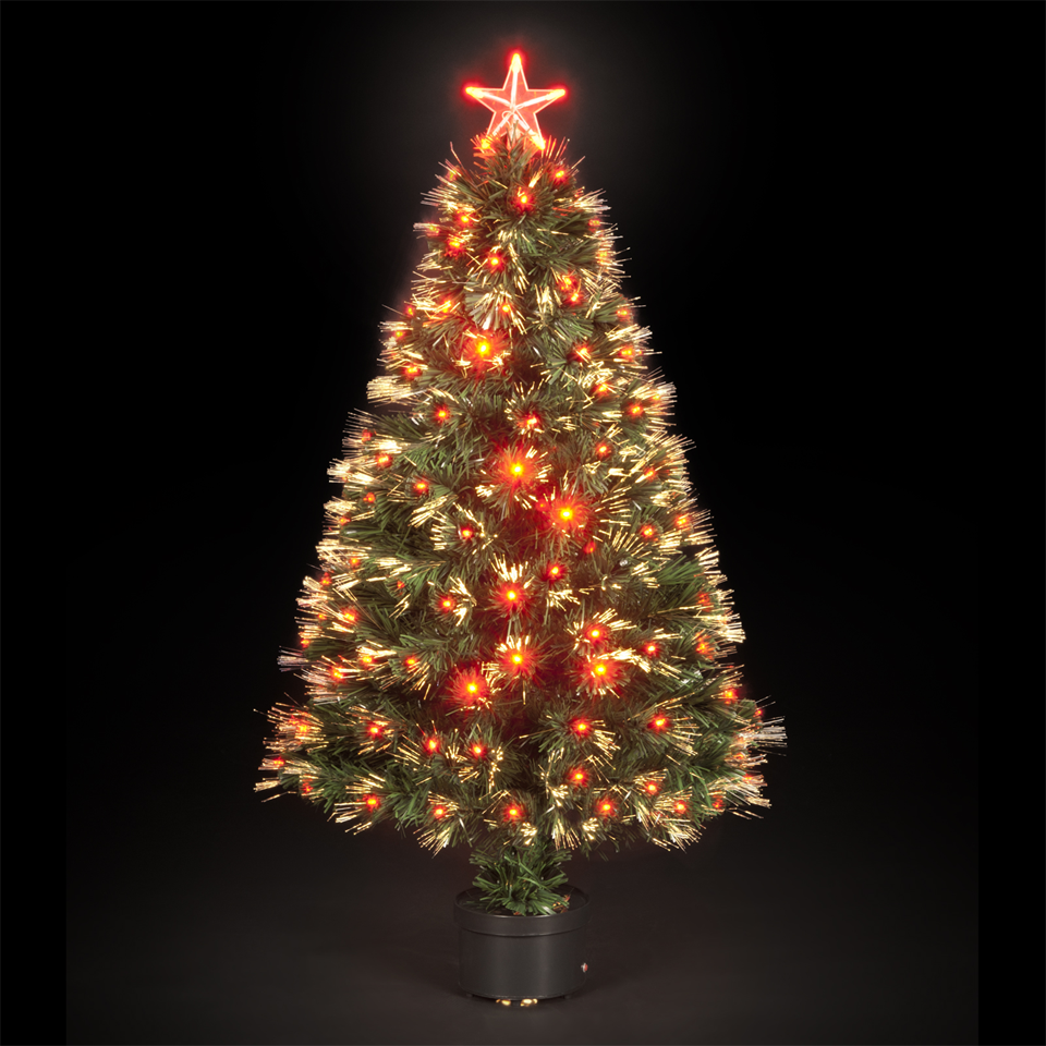 120cm4ft Glowing Ember Fibre Optic Christmas Tree with 130 LEDs