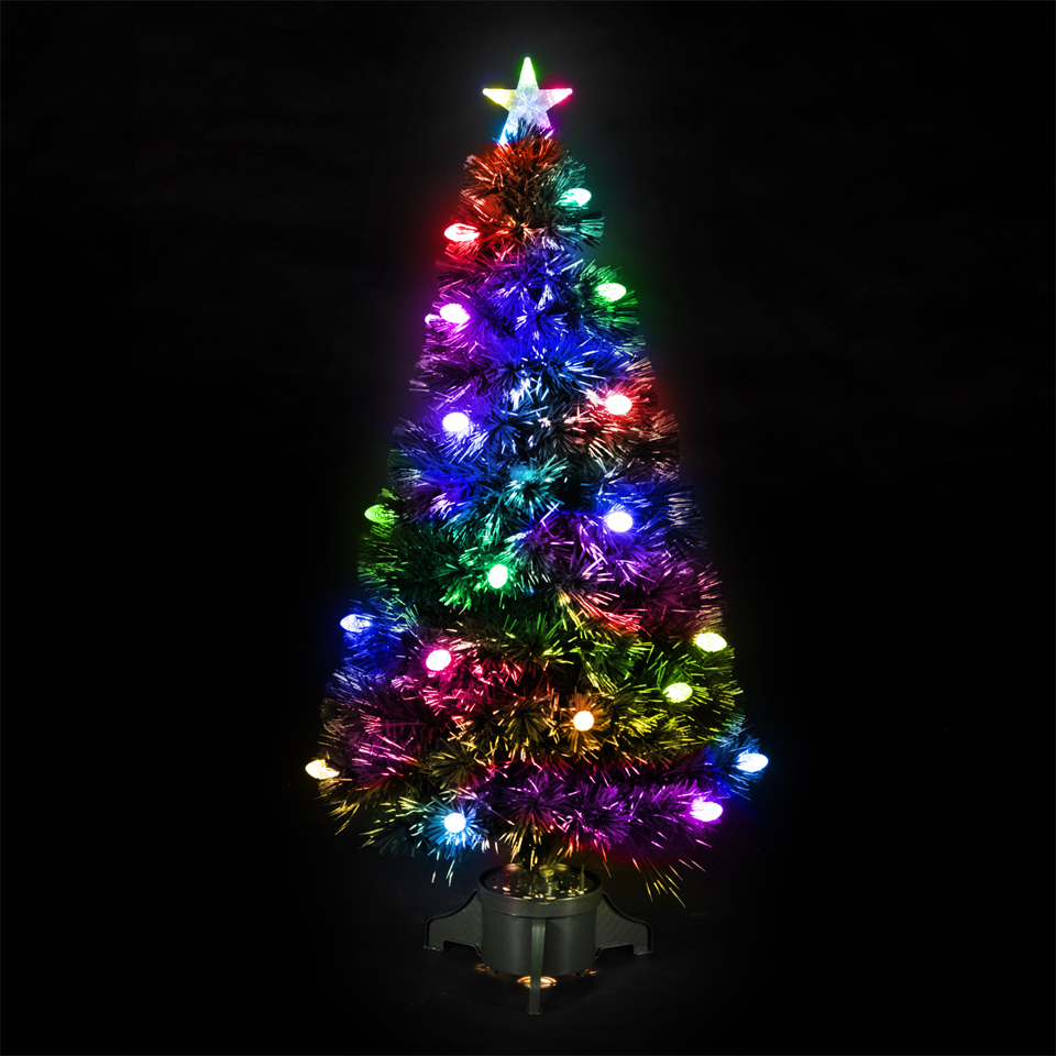 90cm3ft Frosted Bauble Fibre Optic Christmas Tree with 90 LEDs