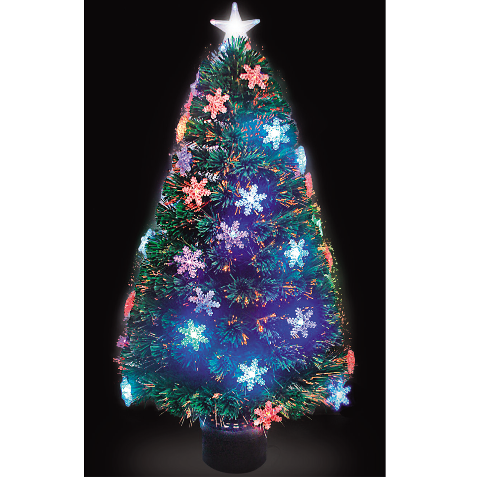 120cm4ft Fibre Optic Snowflake Christmas Tree with Multicoloured LEDs