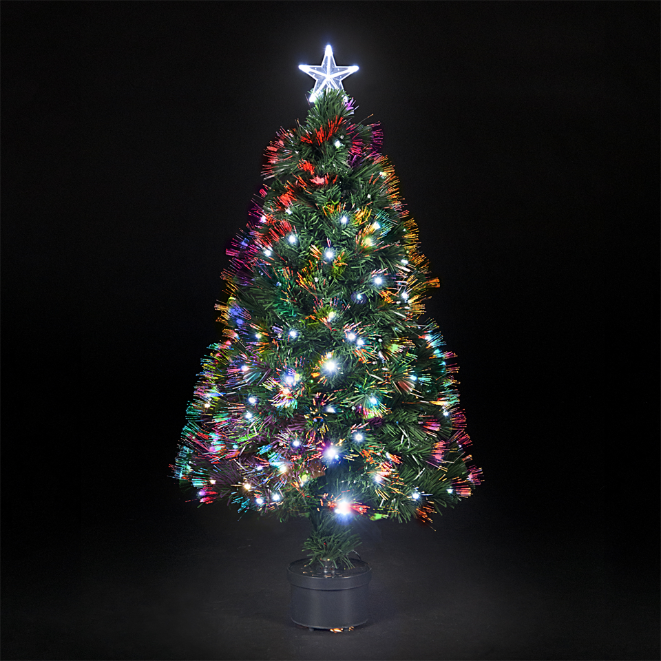 120cm4ft Fibre Optic Saturn Christmas Tree with Ice White LEDs