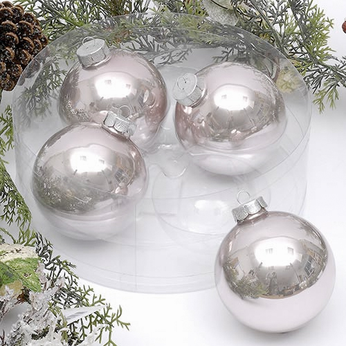 Pack of 4 x 100mm Oyster Glass Baubles