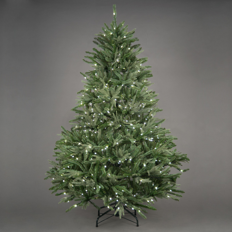 "Pe Christmas Trees Uk: 7ft 4in ""Pre-Lit"" Kensington Fir Premium PE Christmas Tree"