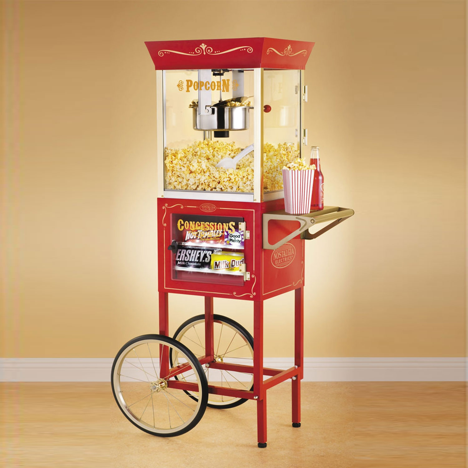 Christmas Trees and Lights Old Fashioned Movie Time Popcorn Cart with Concession Stand
