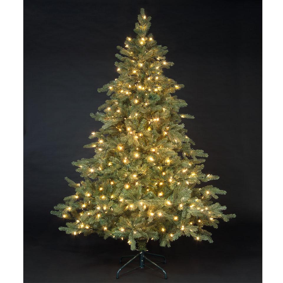 7ft 6in Green Andorran Fir Luxury Pre Lit Premium PE Christmas Tree Best Price from Christmas ...