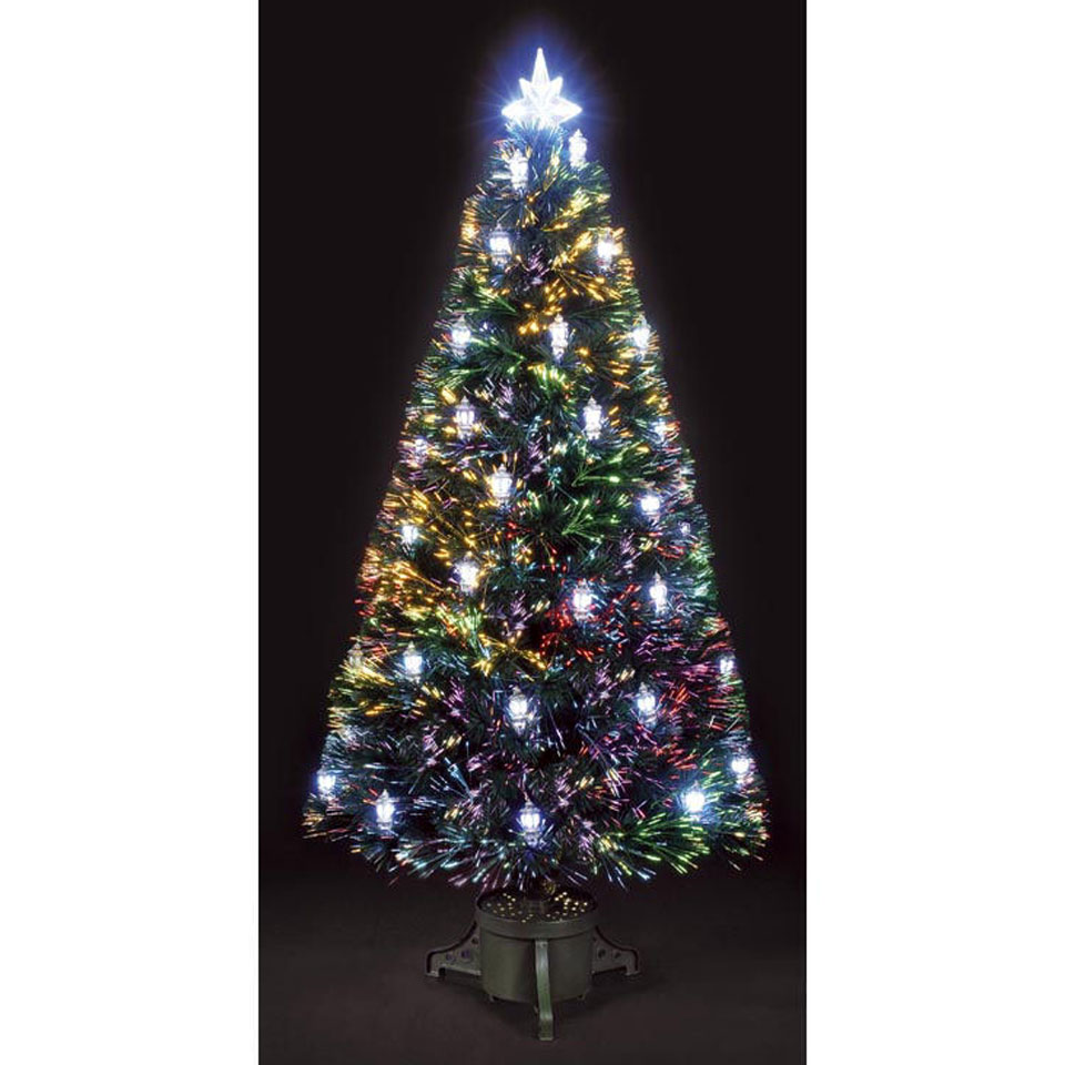 6ft 180cm Silver Lantern Green Fibre Optic Christmas Tree