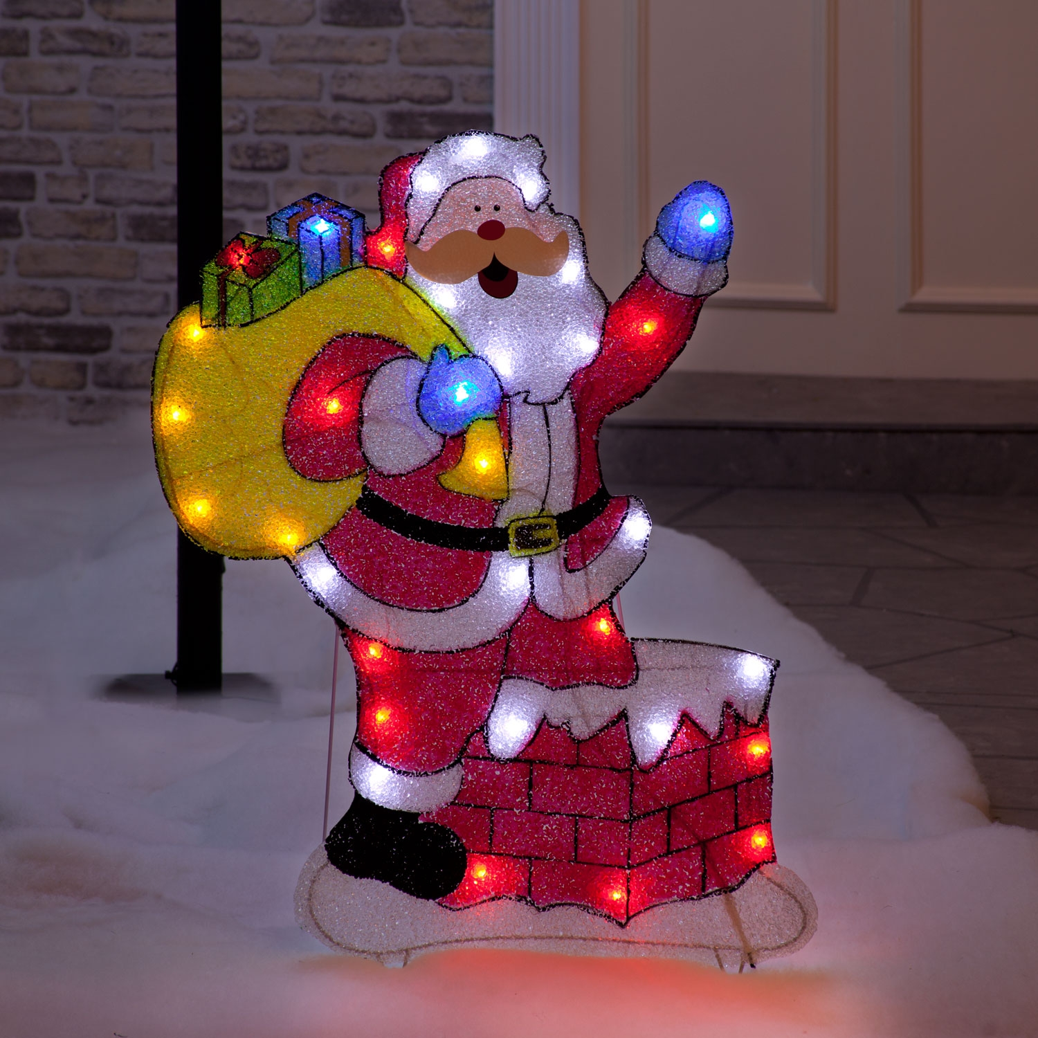 Christmas Trees and Lights Santa Claus on Chimney Ground Light