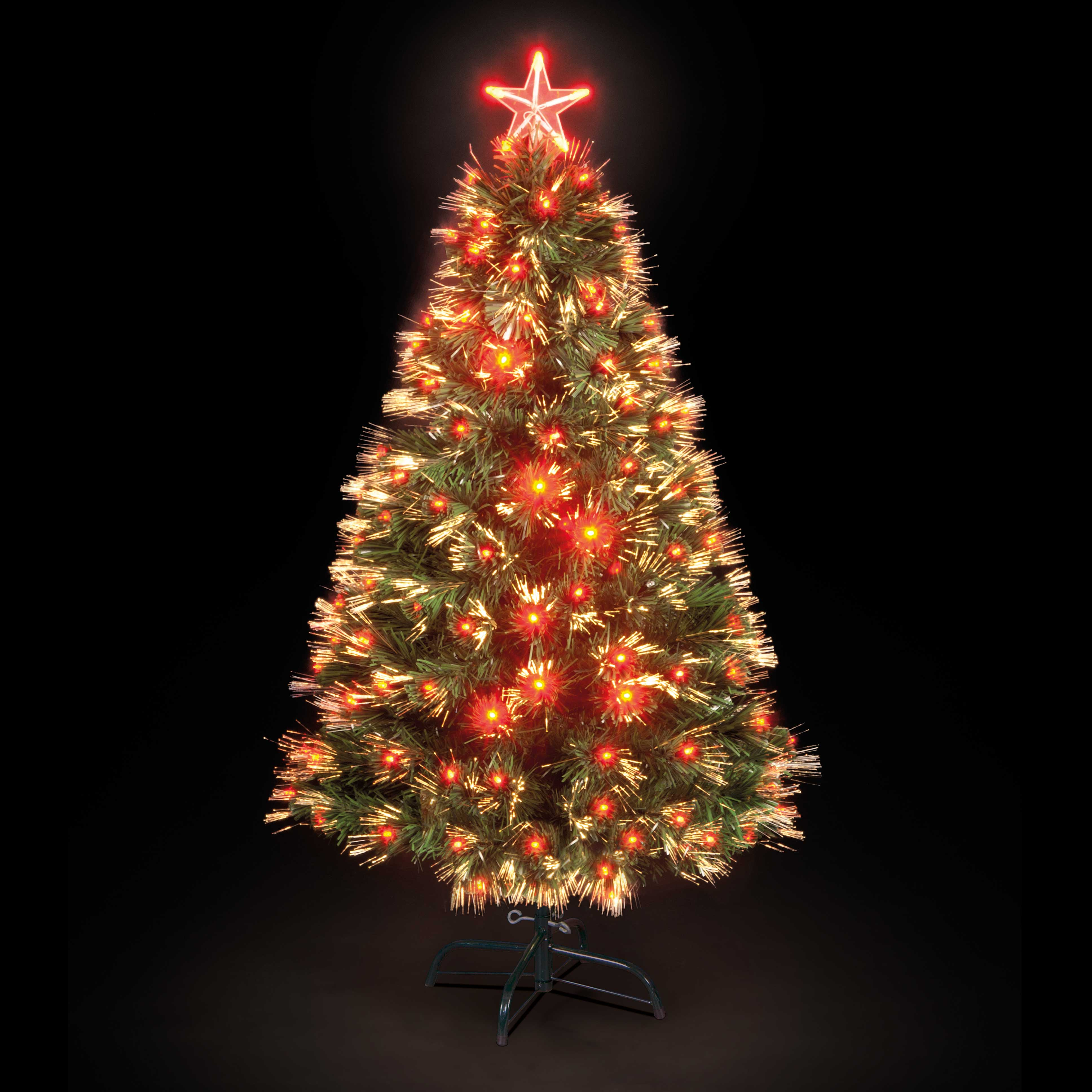 90cm3ft Red Saturn Fibre Optic Christmas Tree with 60 LEDs