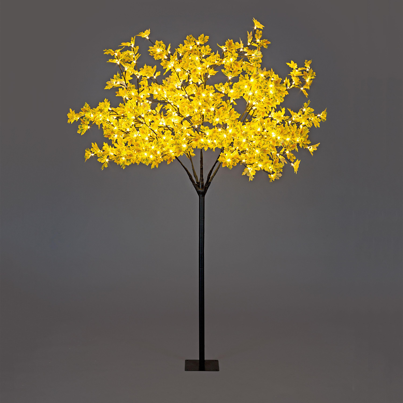 Pre-Lit Artificial Autumn Maple Leaf Christmas Tree 5ft ...
