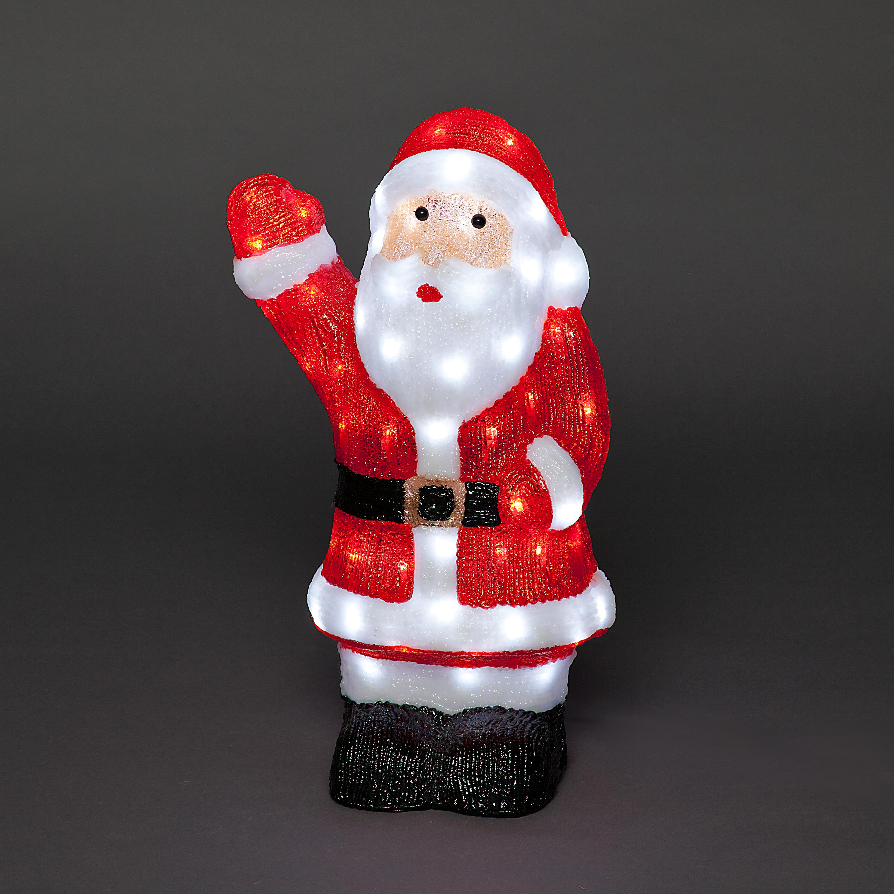 54cm Acrylic Waving Santa Claus with 80 Ice White LED Lights