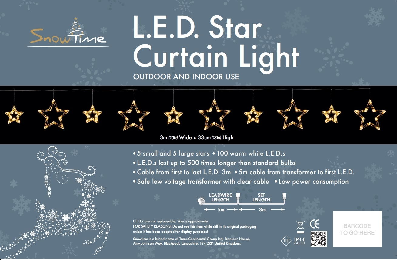 Click to view product details and reviews for 10 Small And Large Star Curtain Lights.