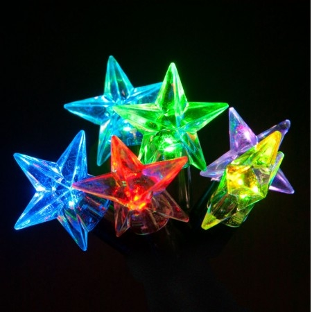 Click to view product details and reviews for 100 Connectable Led Star Christmas Lights On Rubber Cable.