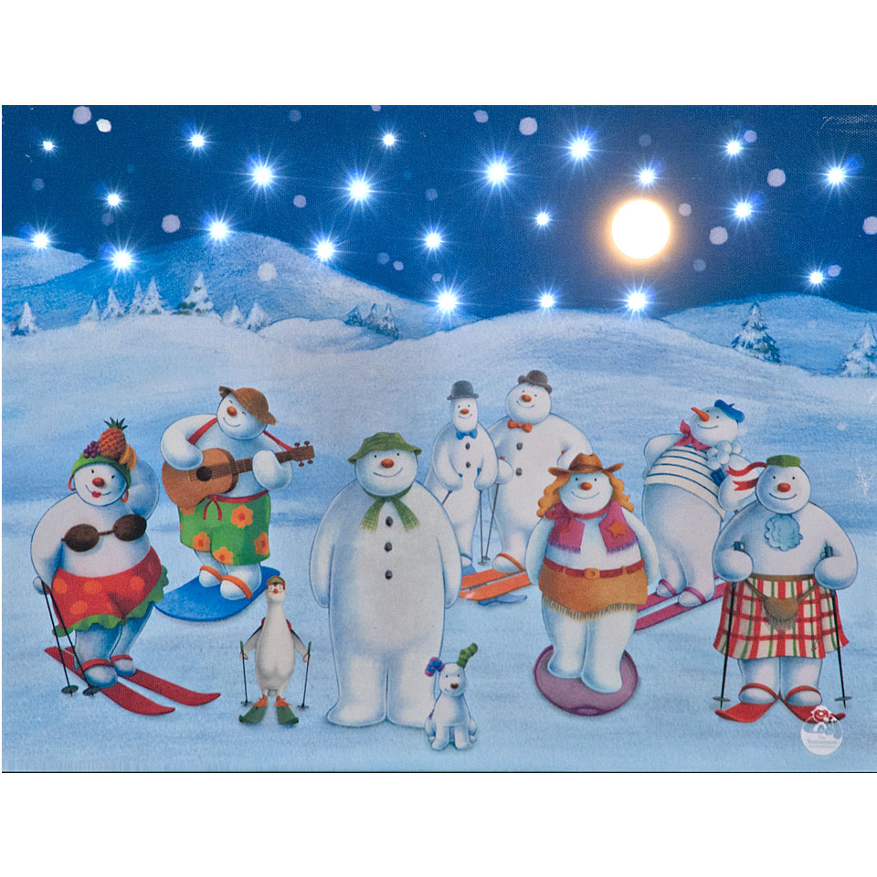 40x30cm The Snowmens Party Illuminated Wall Canvas