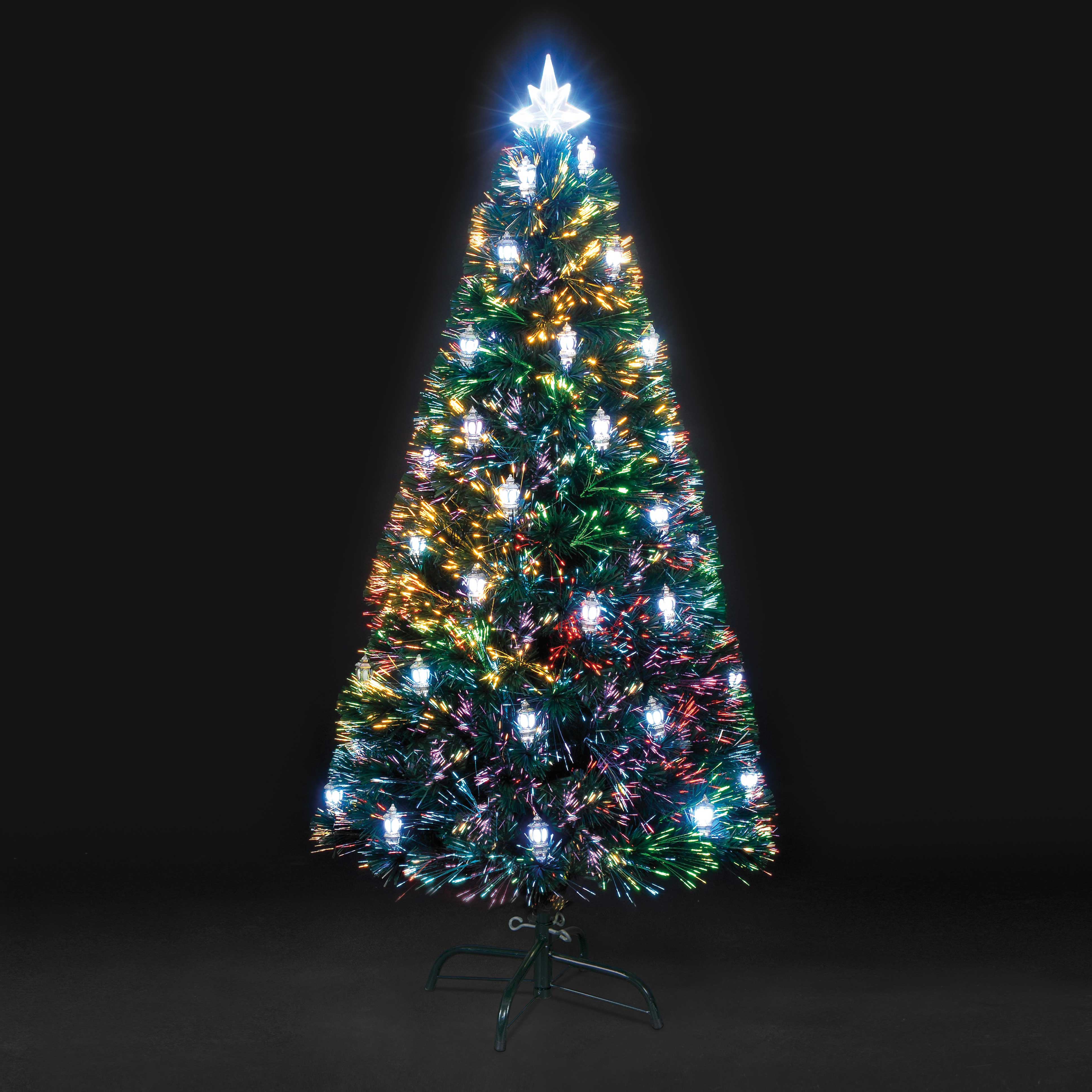 5ft Victoriana Colour Changing Lantern Fibre Optic Christmas Tree