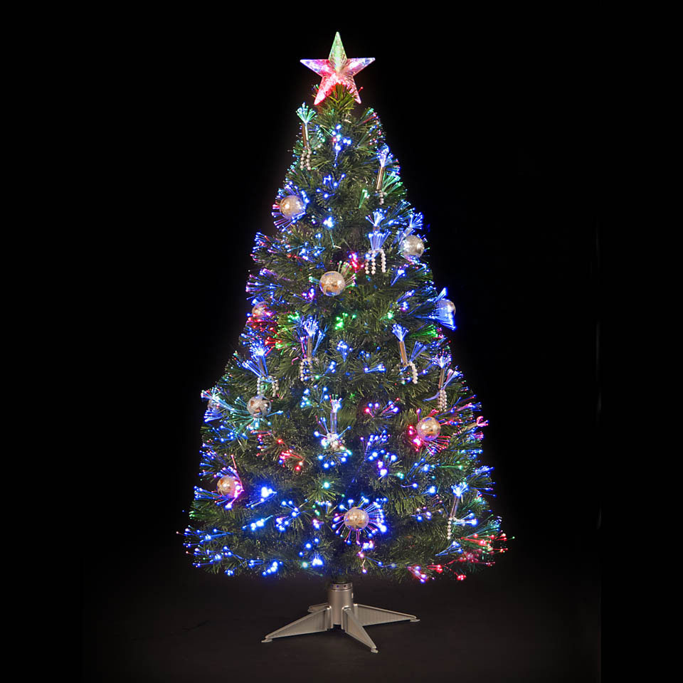 Argos Christmas Trees And Decorations: 3ft Silver Grace Fibre Optic Christmas Tree